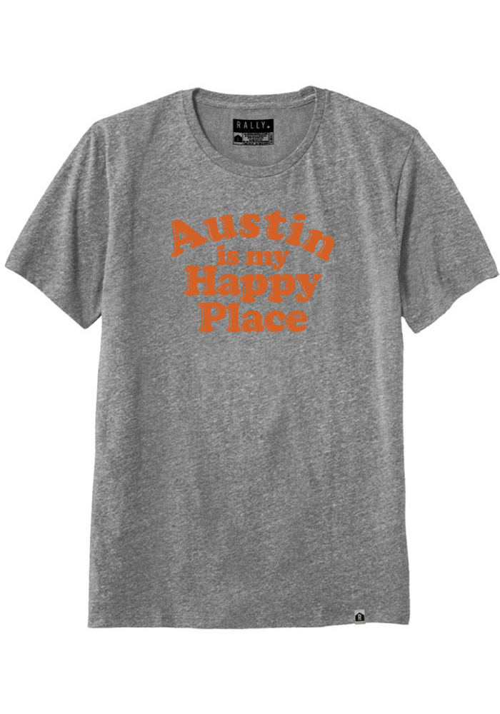 Rally Texas Grey Austin Is My Happy Place Short Sleeve T Shirt - Image 1