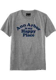 Rally Michigan Grey Ann Arbor Is My Happy Place Short Sleeve T Shirt