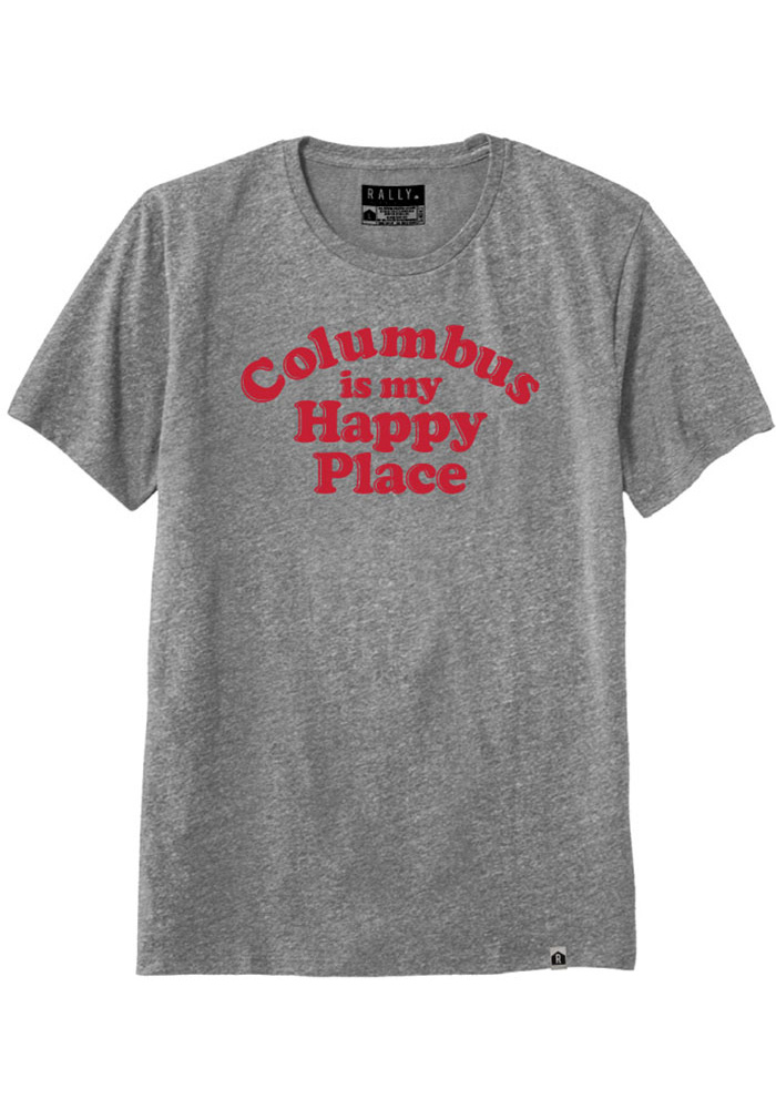 Rally Ohio Grey Columbus Is My Happy Place Short Sleeve T Shirt