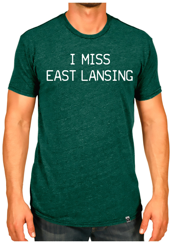 Rally Michigan Green I Miss East Lansing Short Sleeve Fashion T Shirt - Image 2