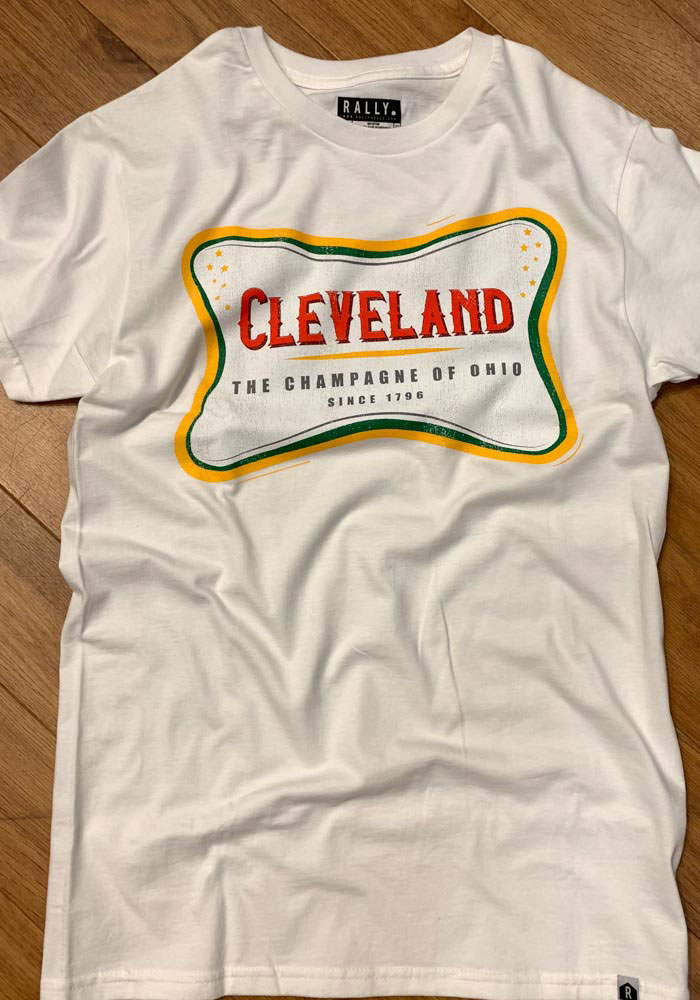 Rally Cleveland White The Champagne Of Ohio Short Sleeve T Shirt - Image 3
