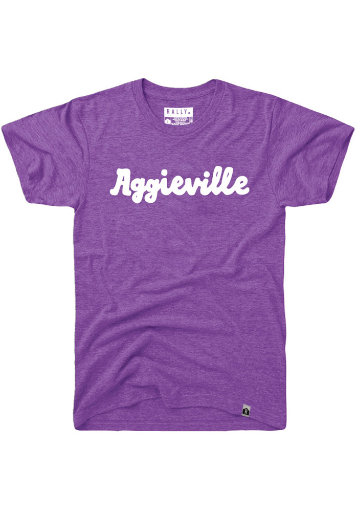 Rally Aggieville Purple Script Short Sleeve Fashion T Shirt - Image 1