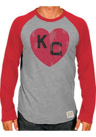 Original Retro Brand Kansas City Monarchs Grey Monarch Heart Fashion Tee