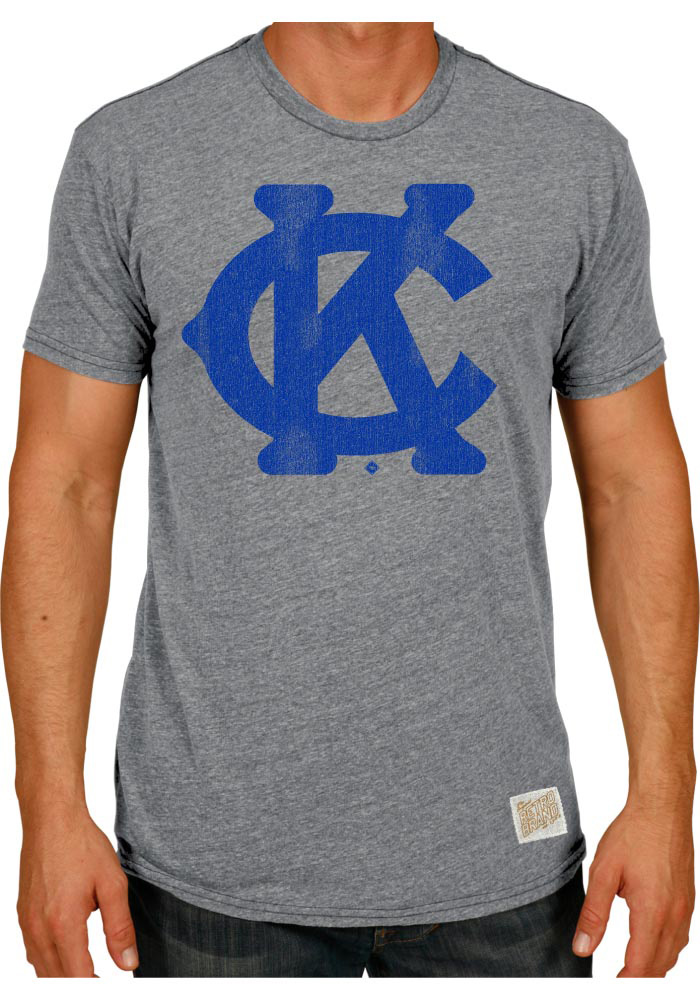 Original Retro Brand Kansas City Monarchs Mens Grey Monarch KC Short Sleeve Fashion T Shirt - Image 1