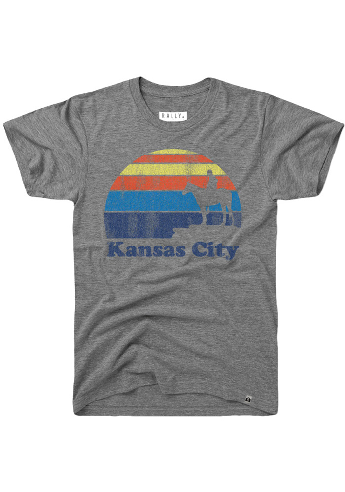 Rally Kansas City Grey Scout Sunset Icon Short Sleeve Fashion T Shirt - Image 1