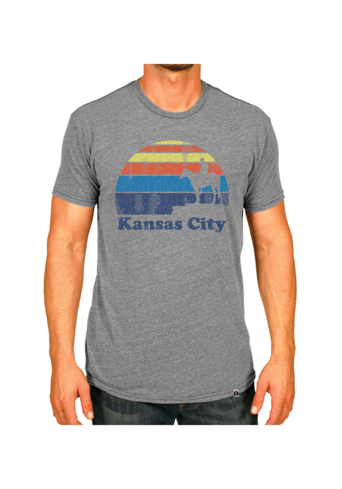 Rally Kansas City Grey Scout Sunset Icon Short Sleeve Fashion T Shirt - Image 2