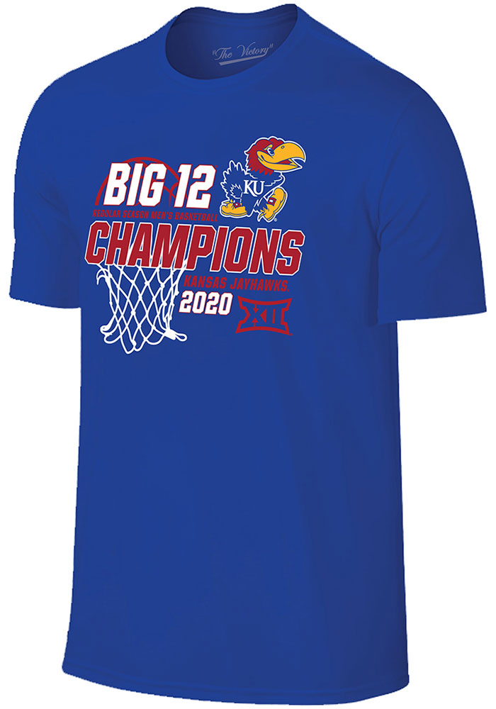 Kansas Jayhawks 2019-2020 Big 12 Champions T Shirt - Blue