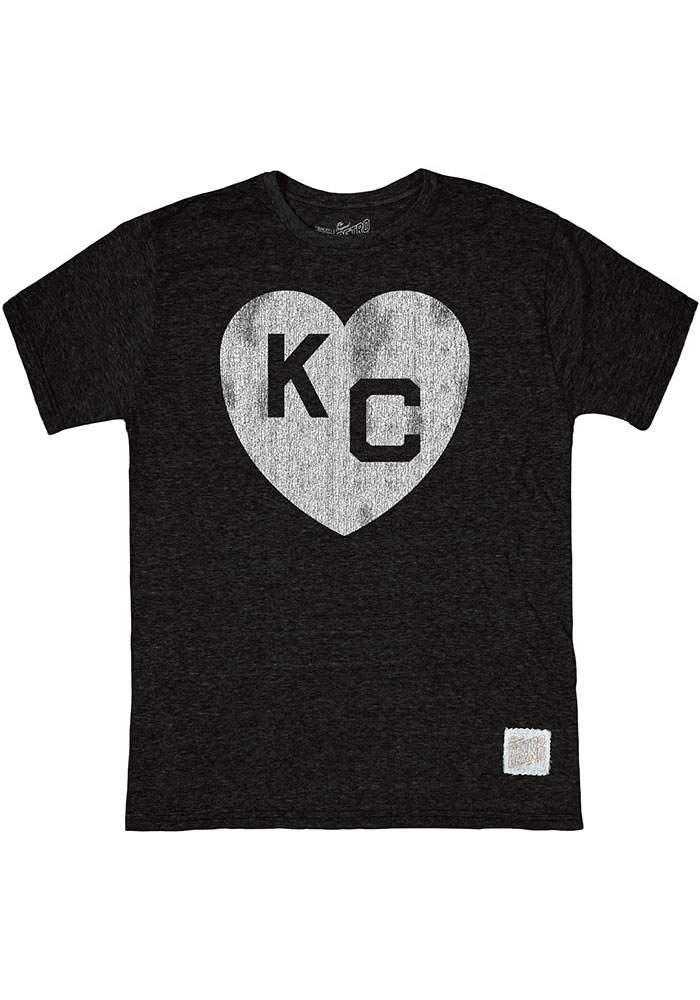 Kansas City Monarchs Original Retro Brand Heart Kansas City Fashion T Shirt - Black