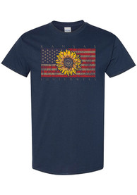 Kansas Womens Navy Blue Sunflower USA Flag Short Sleeve T Shirt