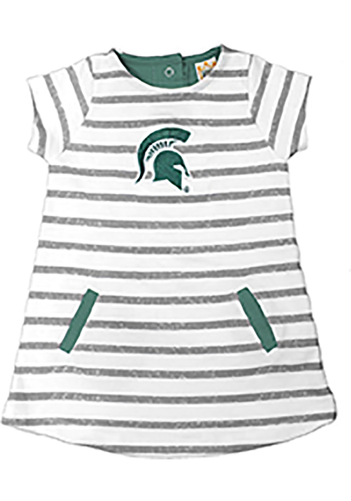 Michigan State Spartans Toddler Girls Ivory French Terry Short Sleeve Dresses - Image 1