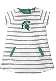 Michigan State Spartans Toddler Girls Ivory French Terry Dresses