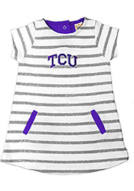 TCU Horned Frogs Toddler Girls Ivory French Terry Dresses