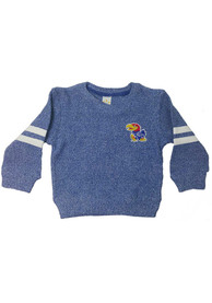 Kansas Jayhawks Girls Blue Twist Crew Sweatshirt