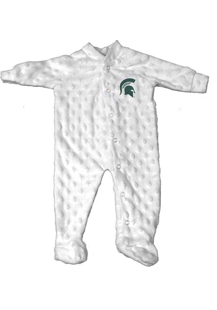 Michigan State Spartans Baby White Cuddle Bubble Loungewear One Piece Pajamas - Image 1