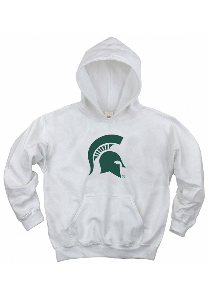Michigan State Spartans Youth White Spartan Helmet Long Sleeve Hoodie - Image 1