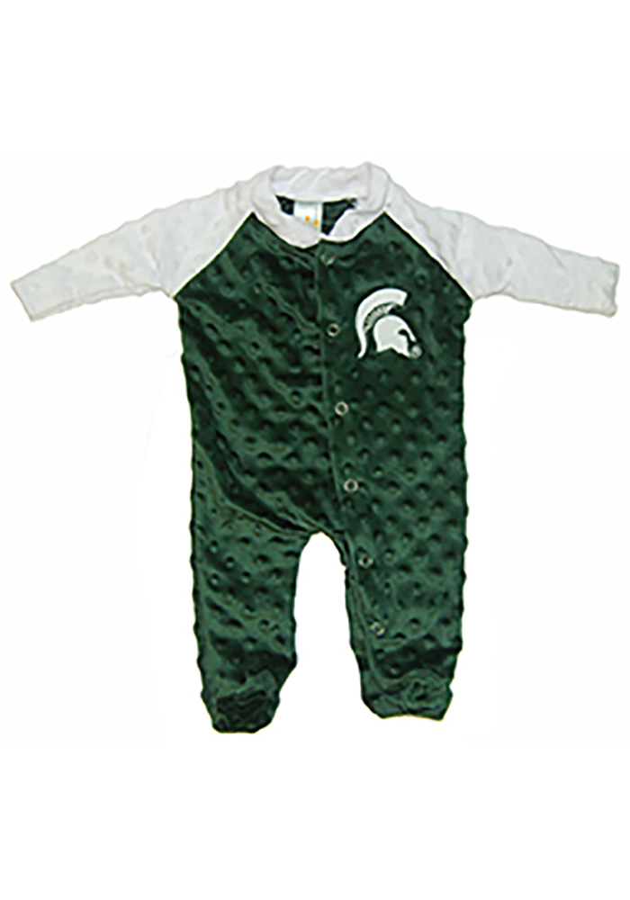 Michigan State Spartans Baby Green Two Tone Cuddle Bubble Loungewear One Piece Pajamas - Image 1