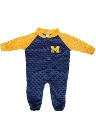 Michigan Wolverines Baby Two Tone Cuddle Bubble Navy Blue Two Tone Cuddle Bubble One Piece Pajamas