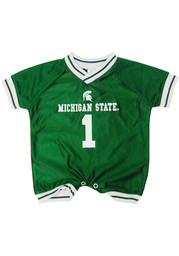 Michigan State Spartans Baby Green Football Short Sleeve One Piece