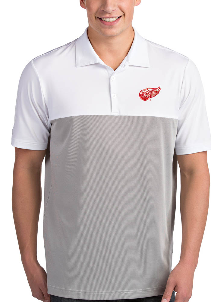 Antigua Detroit Red Wings Mens White Venture Short Sleeve Polo - Image 1