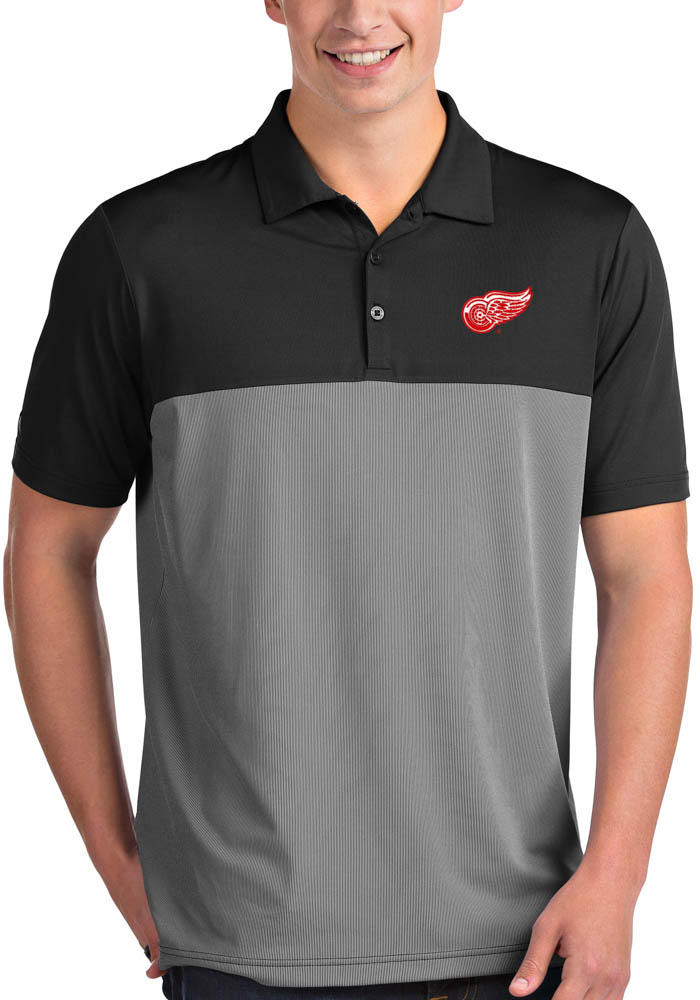 Antigua Detroit Red Wings Mens Black Venture Short Sleeve Polo - Image 1