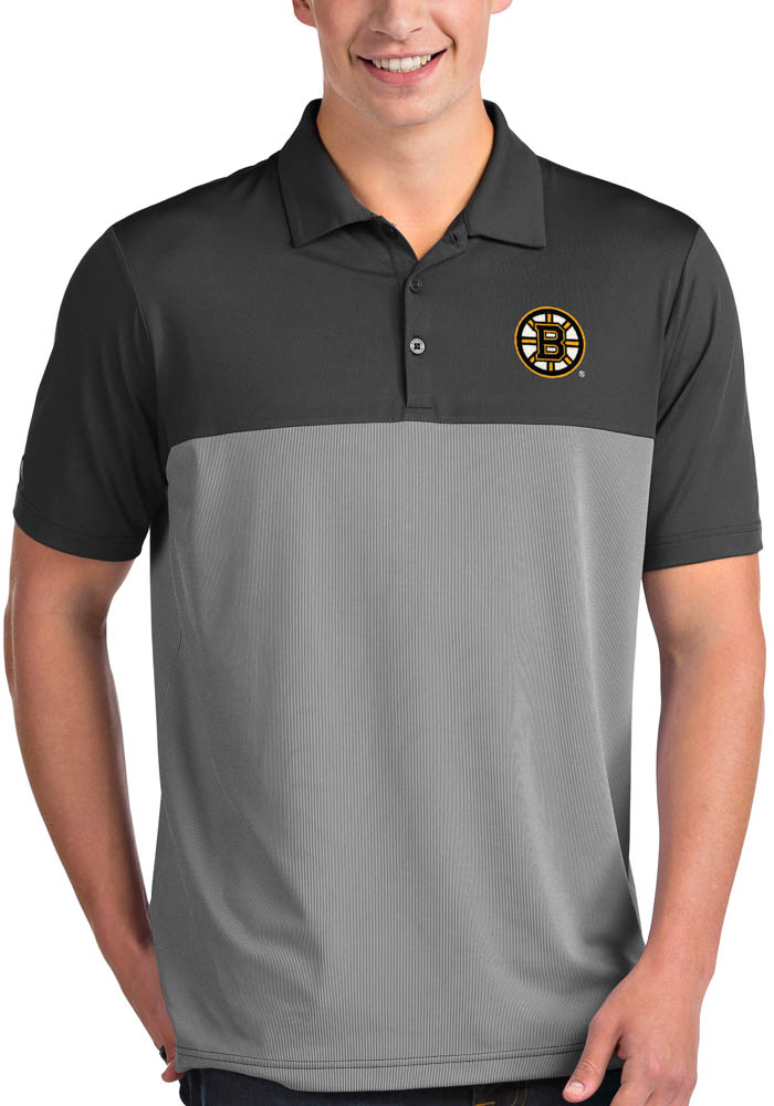 Antigua Boston Bruins Mens Grey Venture Short Sleeve Polo - Image 1