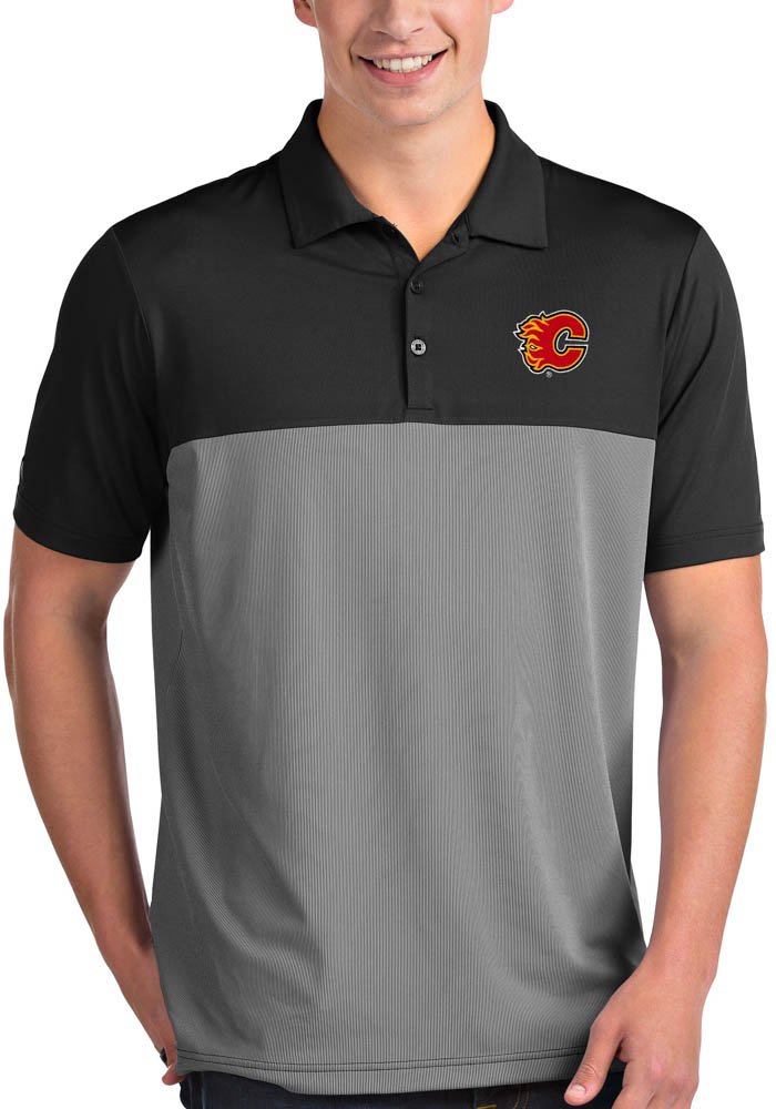Antigua Calgary Flames Mens Black Venture Short Sleeve Polo - Image 1