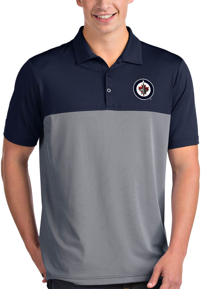 Antigua Winnipeg Jets Mens Navy Blue Venture Short Sleeve Polo - Image 1