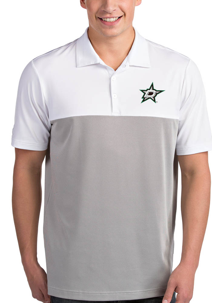 Antigua Dallas Stars Mens White Venture Short Sleeve Polo - Image 1