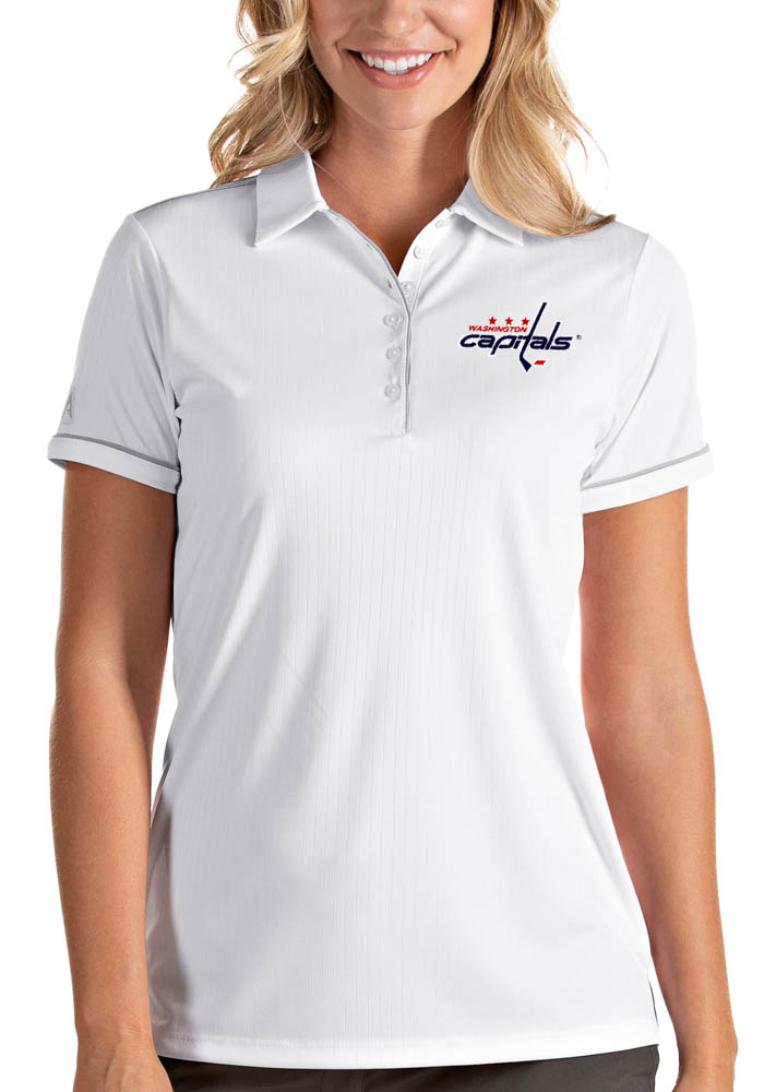 Antigua Washington Capitals Womens White Salute Short Sleeve Polo Shirt - Image 1