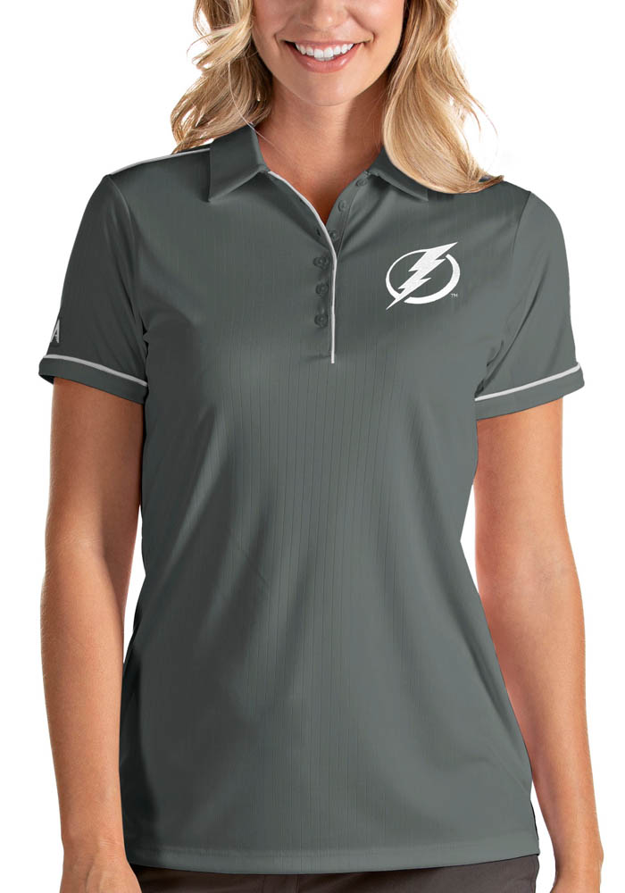 Antigua Tampa Bay Lightning Womens Grey Salute Short Sleeve Polo Shirt - Image 1