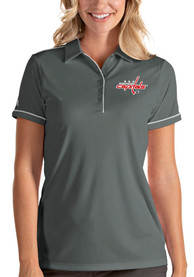 Washington Capitals Womens Antigua Salute Polo Shirt - Grey