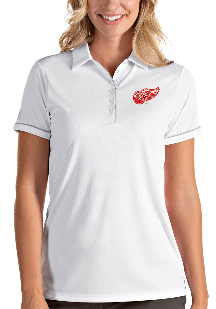 Antigua Detroit Red Wings Womens White Salute Short Sleeve Polo Shirt - Image 1