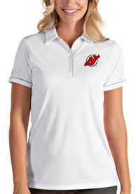 New Jersey Devils Womens Antigua Salute Polo Shirt - White