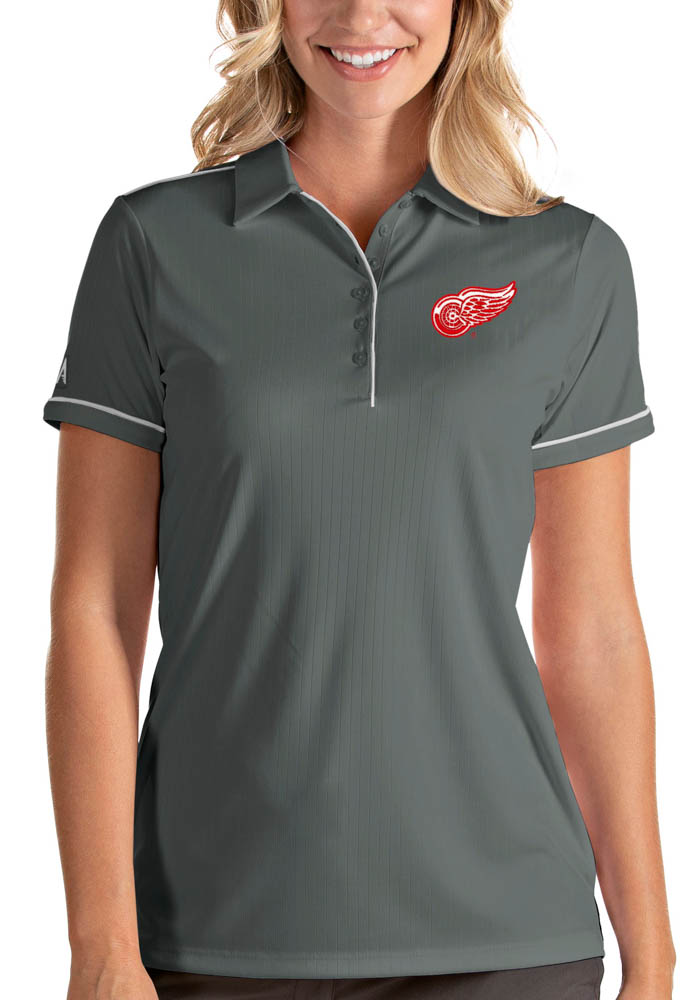 Antigua Detroit Red Wings Womens Grey Salute Short Sleeve Polo Shirt - Image 1