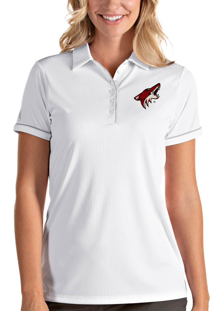 Antigua Arizona Coyotes Womens White Salute Short Sleeve Polo Shirt - Image 1