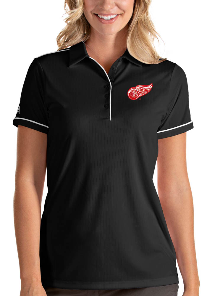 Antigua Detroit Red Wings Womens Black Salute Short Sleeve Polo Shirt - Image 1