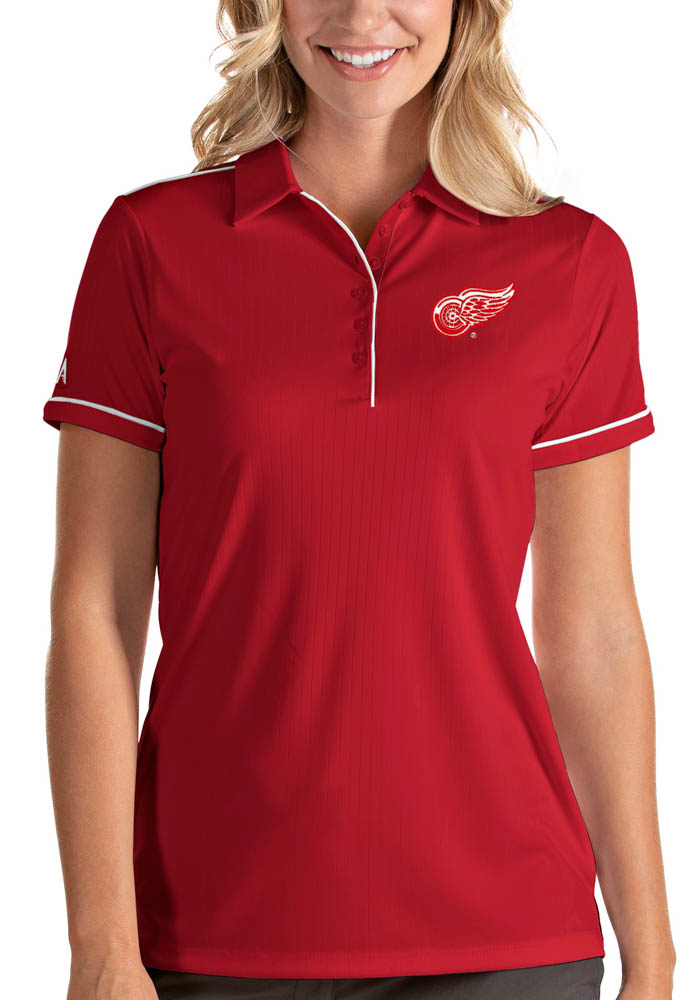 Antigua Detroit Red Wings Womens Red Salute Short Sleeve Polo Shirt - Image 1