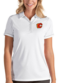 Calgary Flames Womens Antigua Salute Polo Shirt - White