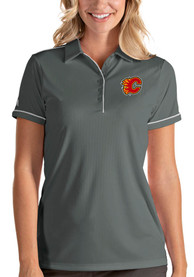 Calgary Flames Womens Antigua Salute Polo Shirt - Grey