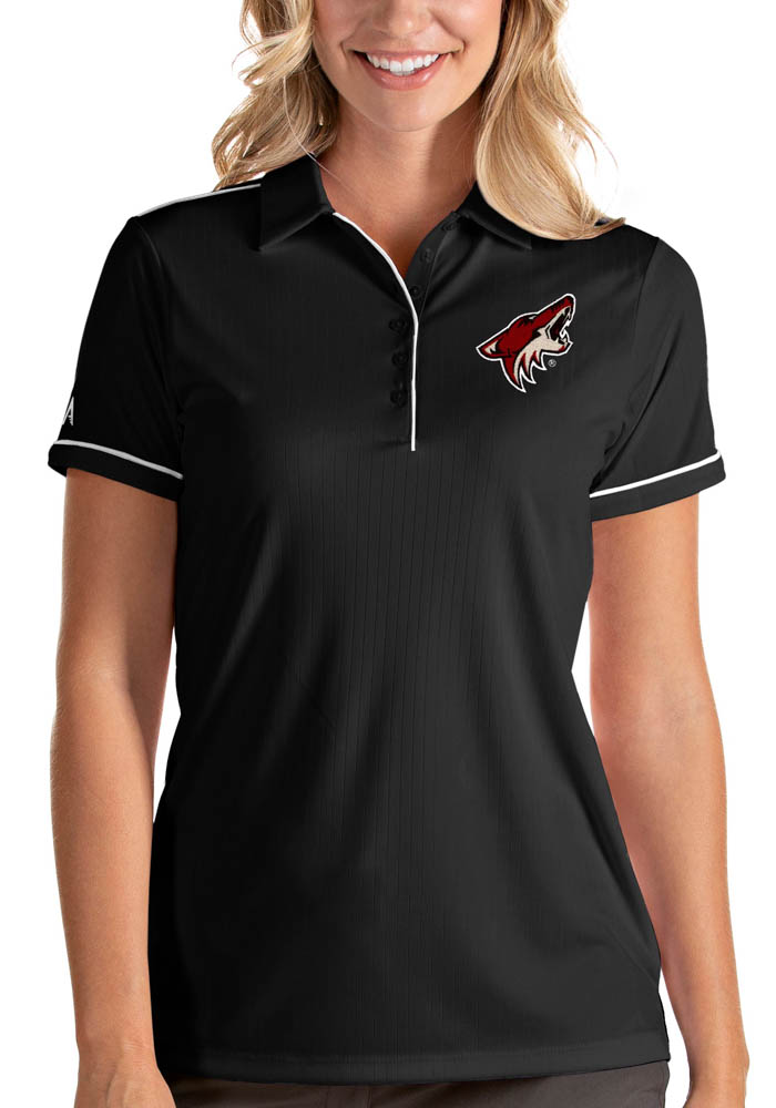 Antigua Arizona Coyotes Womens Black Salute Short Sleeve Polo Shirt - Image 1
