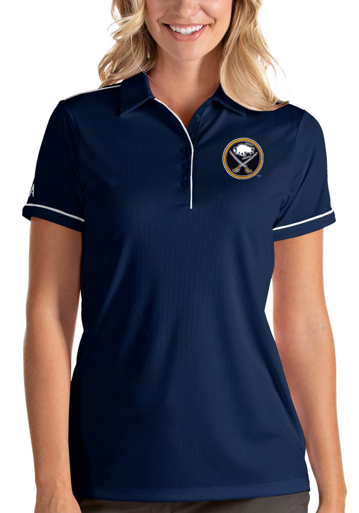 Antigua Buffalo Sabres Womens Navy Blue Salute Short Sleeve Polo Shirt - Image 1