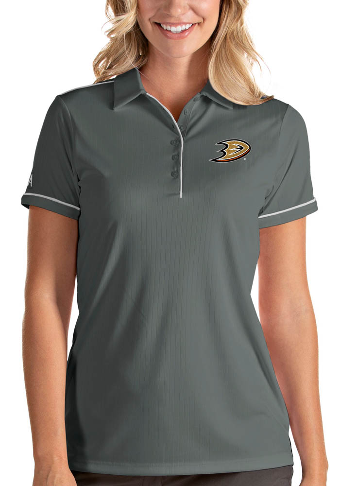 Antigua Anaheim Ducks Womens Grey Salute Short Sleeve Polo Shirt - Image 1