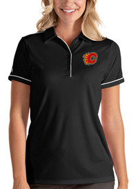 Calgary Flames Womens Antigua Salute Polo Shirt - Black