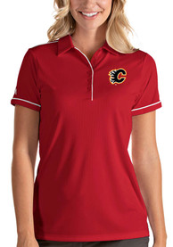 Calgary Flames Womens Antigua Salute Polo Shirt - Red