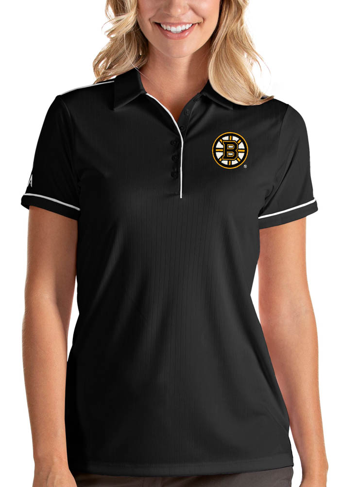 Boston Bruins Womens Black Salute Short Sleeve Polo Shirt - Image 1