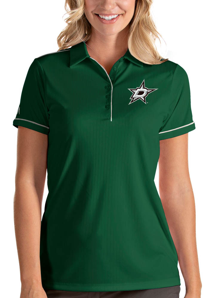 Antigua Dallas Stars Womens Green Salute Short Sleeve Polo Shirt - Image 1