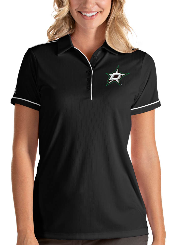 Antigua Dallas Stars Womens Black Salute Short Sleeve Polo Shirt - Image 1
