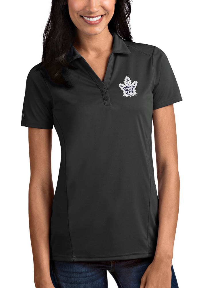 Antigua Toronto Maple Leafs Womens Grey Tribute Short Sleeve Polo Shirt - Image 1