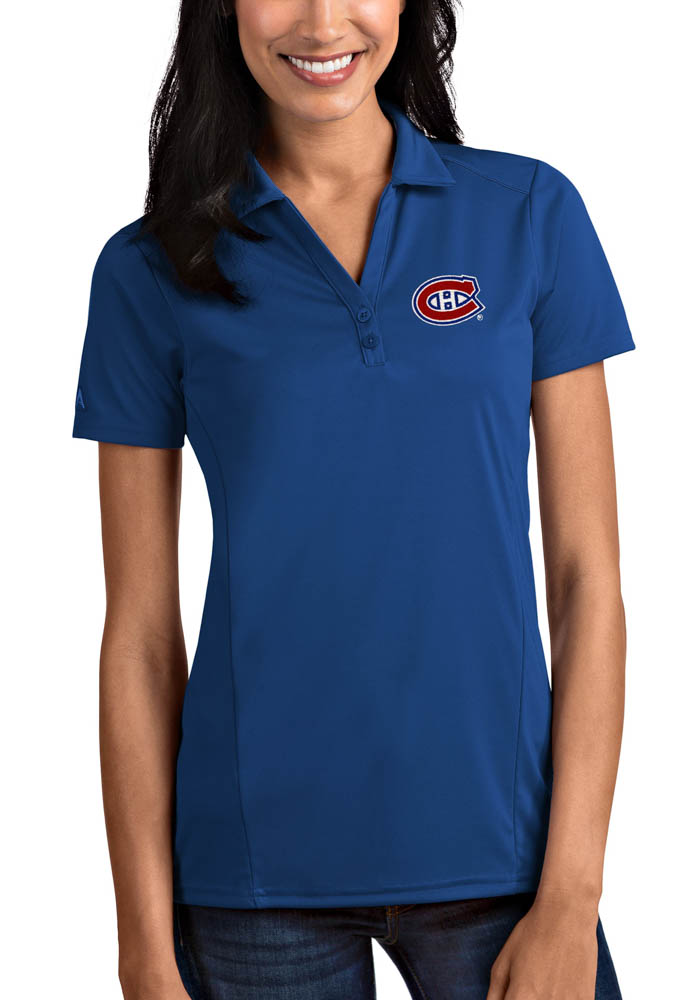Antigua Montreal Canadiens Womens Blue Tribute Short Sleeve Polo Shirt - Image 1