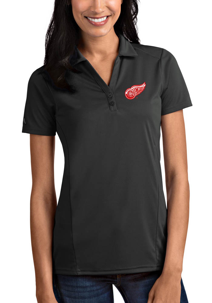 Antigua Detroit Red Wings Womens Grey Tribute Short Sleeve Polo Shirt - Image 1